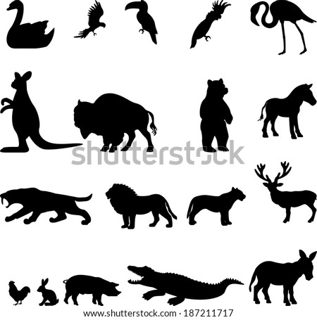 Animal collection - vector silhouette - stock vector
