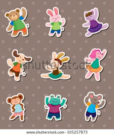 animal dance stickers - stock vector