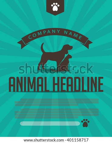 Animal dog and cat poster, infographic, advertising web page or marketing template with copy space. EPS 10 vector. - stock vector