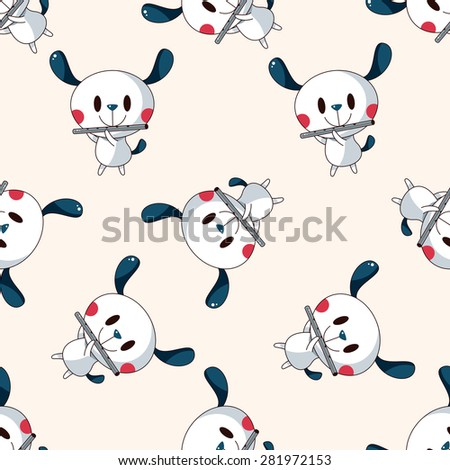 animal dog playing instrument cartoon , cartoon seamless pattern background - stock vector