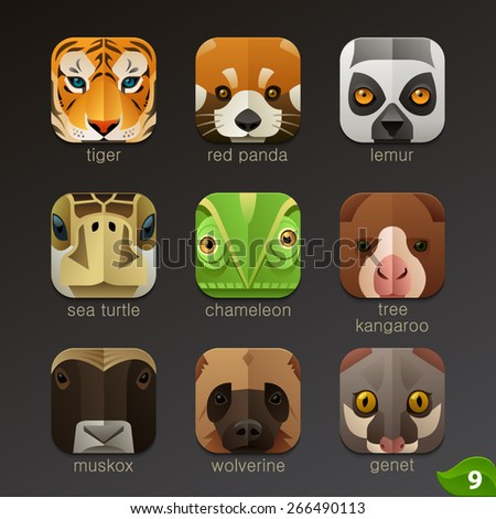 Animal faces for app icons-set 9 - stock vector