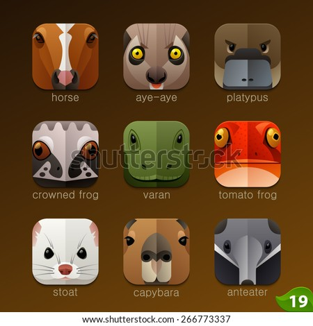 Animal faces for app icons-set 19 - stock vector