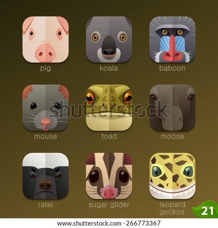 Animal faces for app icons-set 21 - stock vector