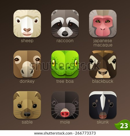 Animal faces for app icons-set 23 - stock vector
