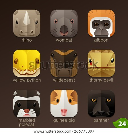 Animal faces for app icons-set 24 - stock vector