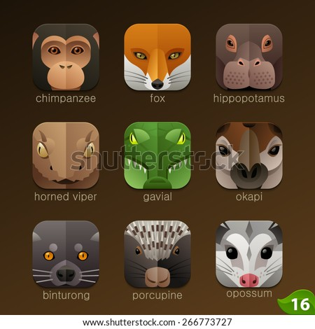 Animal faces for app icons-set 16 - stock vector