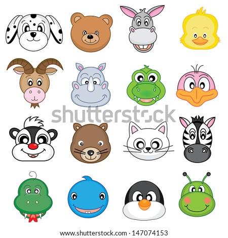 Animal Faces Set. Vector - stock vector