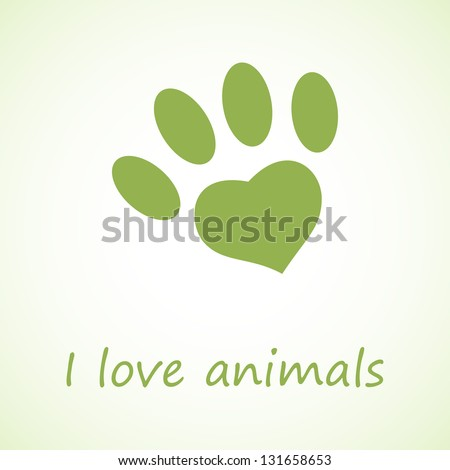 Animal foot print in eco style - stock vector