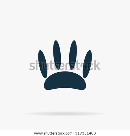 Animal footprint. Flat vector web icon or sign on grey background with shadow. Collection modern trend concept design style illustration symbol - stock vector