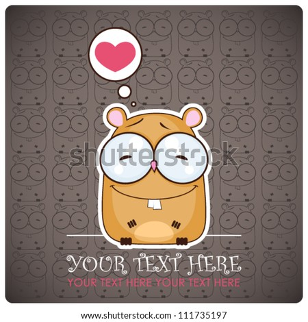 Animal greeting card with funny cartoon hamster. - stock vector