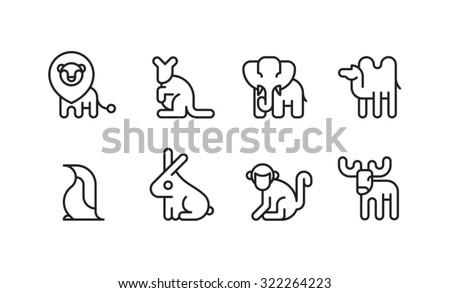 Animal Icon Symbol Zoo Set 1-8 - stock vector