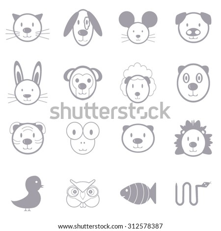 Animal icons set illustration - stock vector