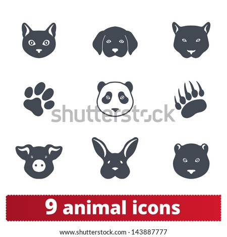 Animal icons: vector set of signs of wild and domestic creatures - stock vector