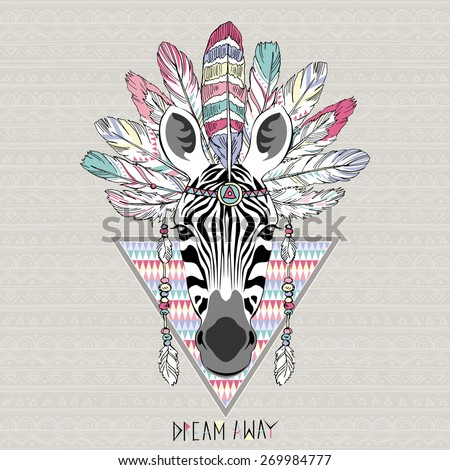 animal illustration, aztec zebra, native american poster - stock vector