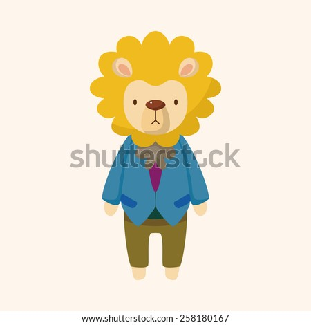 animal lion worker cartoon theme elements - stock vector