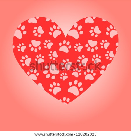 Animal lover heart greeting card, vector - stock vector