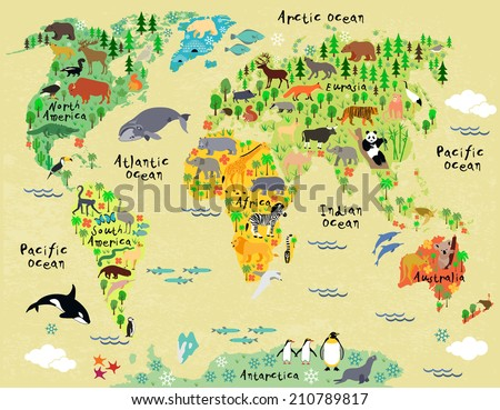 Animal map of the world for children and kids  - stock vector