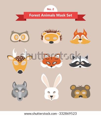 animal mask set- forest animals- set no. 2 - stock vector