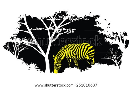 animal of wildlife (yellow zebra) - stock vector