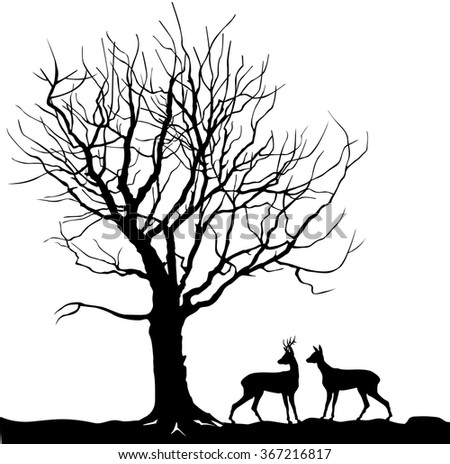 Animal over tree Forest landscape with deer. Vector illustration of winter forest. vector illustration silhouette of beautiful family deer and tree - stock vector