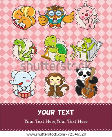 animal play music card - stock vector