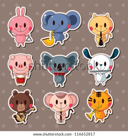 animal play music stickers - stock vector
