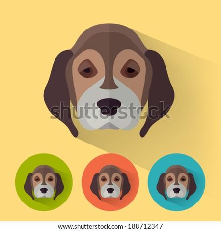 Animal Portrait with Flat Design / Dog / Beagle /German Shepherd / Vector Illustration - stock vector