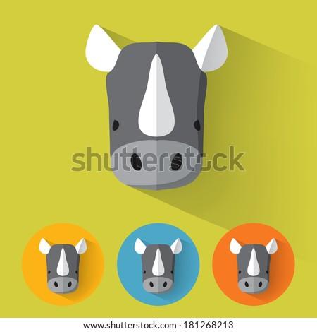 Animal Portrait with Flat Design / Rhino / Vector Illustration - stock vector