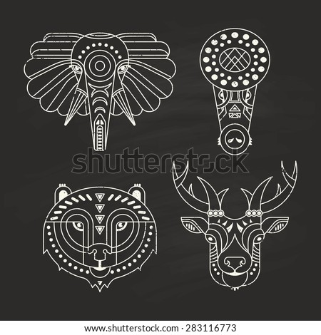 Animal portraits made in unique geometrical flat style. Vector heads of elephant, crocodile, bear, deer. Isolated icons for your design.   - stock vector