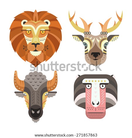 Animal portraits made in unique geometrical flat style. Vector heads of lion, deer, buffalo, monkey. Isolated icons for your design.    - stock vector