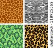 Animal print seamless patterns set, vector - stock vector