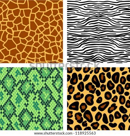 Animal print seamless patterns set, vector - stock vector