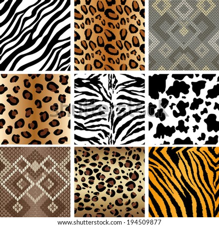 Animal Print seamless Tiling patterns - stock vector