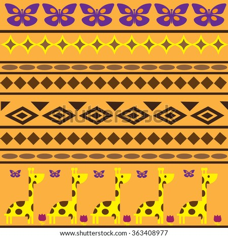 Animal seamless. Children ethnic pattern in warm colors with cute cartoon giraffe, butterfly, geometric shapes, yellow background. Ethnic endless texture print, kids bedroom, fashion, textile, fabric. - stock vector