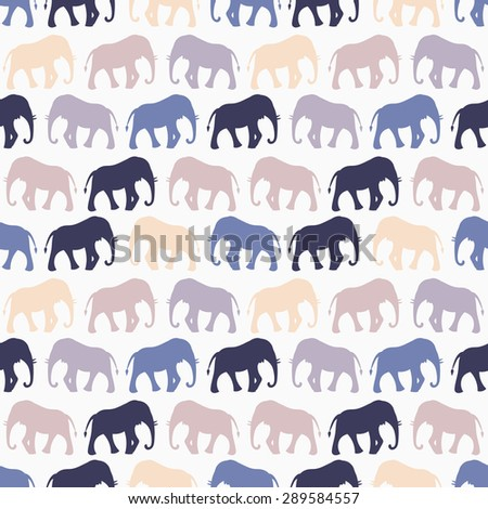 Animal seamless retro vector pattern of elephant silhouettes. Endless texture can be used for printing onto fabric, web page background and paper or invitation. Blue, white and beige colors. - stock vector