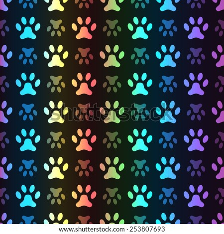 Animal seamless spectrum vector pattern of paw footprint on black background. Polka dog style. Colorful. Shiny grunge wallpaper. - stock vector