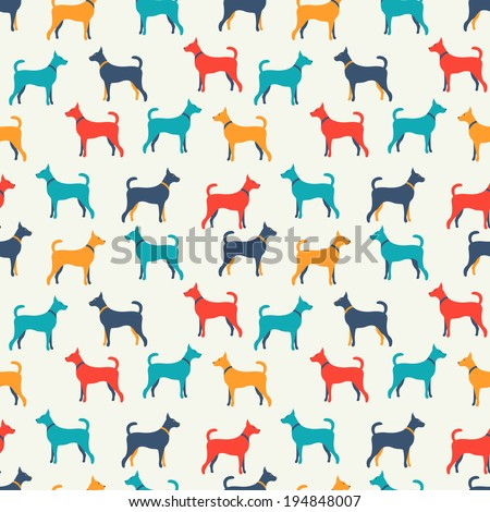 Animal seamless vector pattern of dog silhouettes. Endless texture can be used for printing onto fabric, web page background and paper or invitation. Doggy style. White, blue, red and yellow colors. - stock vector