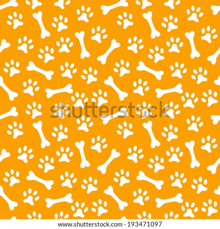 Animal seamless vector pattern of paw footprint and bone. Endless texture can be used for printing onto fabric, web page background and paper or invitation. Dog style. White and orange colors. - stock vector