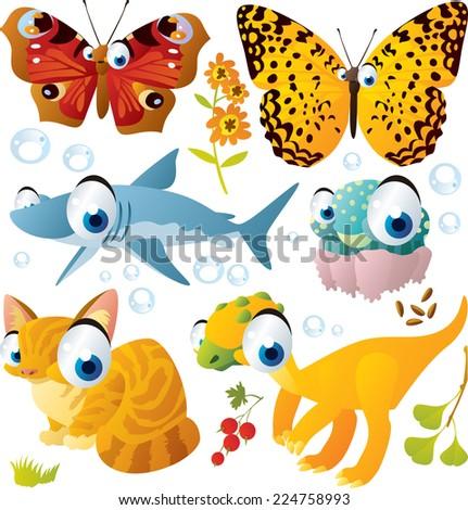 Animal set: butterfly, shark, jellyfish, cat, dinosaur - stock vector