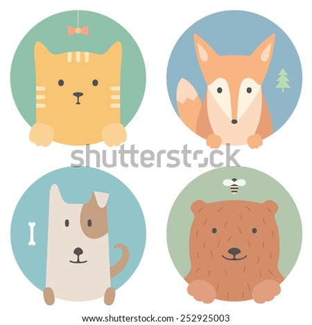 Animal set. Portrait in flat graphics. Red cat, fox, dog and bear - stock vector