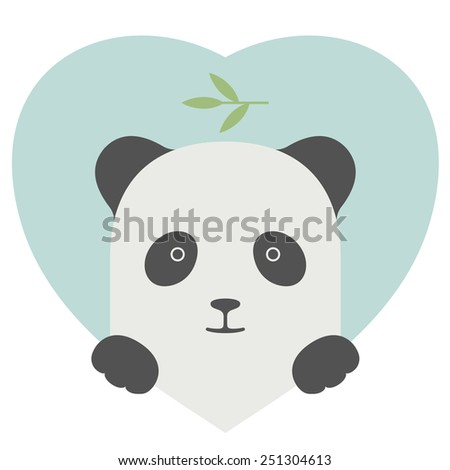 Animal set. Portrait of a panda in love in flat graphics over a heart backdrop - stock vector
