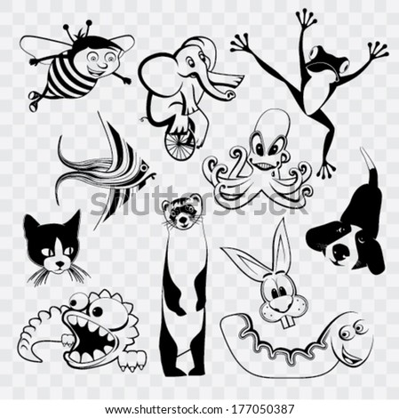animal silhouette set on isolated background - stock vector