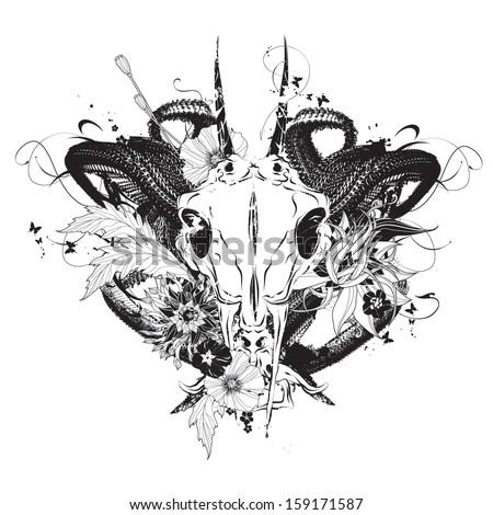 Animal skull with flowers vector illustration - stock vector