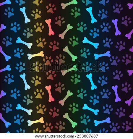 Animal spectrum seamless vector pattern of paw footprint and bone on black background. Dog style. Shiny grunge wallpaper. - stock vector