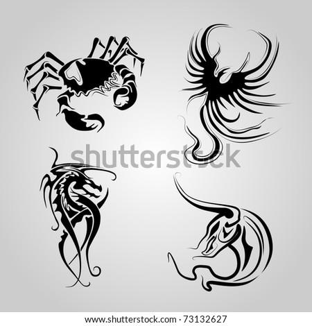 animal tattoo vector - stock vector