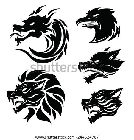 animal tribal tattoo set - stock vector