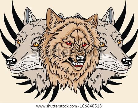 animal wildlife wolf vector - stock vector