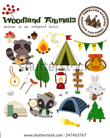 Animal Woodland Camping Vector Set - stock vector