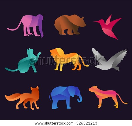 Animal zoo vector icons set. Wild animals vector collection. Jungle animals, vector animals, fox, lion, monkey, cat and dog. Sea and forest animals icon. Pets logo silhouette, animals logo,animal icon - stock vector