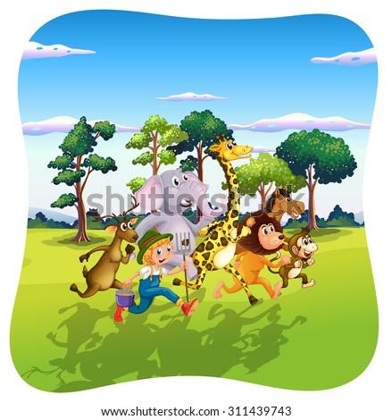 Animals and farmer running in nature  illustration - stock vector
